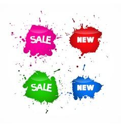 Sale Labels Tags Set in Splash Blot Style vector image vector image
