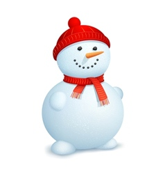 Snowman wearing scarf vector image vector image