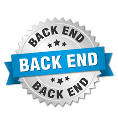 back end round isolated silver badge vector image