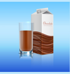 chocolate realistic with glass cup vector image vector image