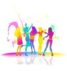 Dancing women at disco vector