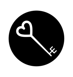 silhouette key shaped heart vector image