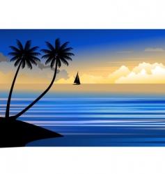 suset beach vector image