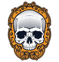 tattoo skull in frame vector image