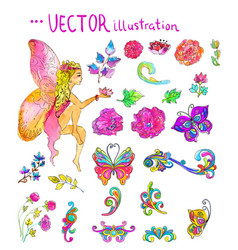 watercolor collection of color flowers and vector image vector image