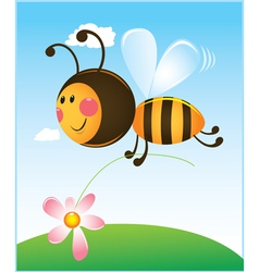 bee and flower color vector image