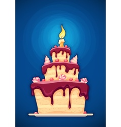 Birthday cake with candle vector image