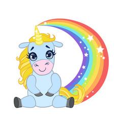 cartoon light blue lovely unicorn sitting on a vector image