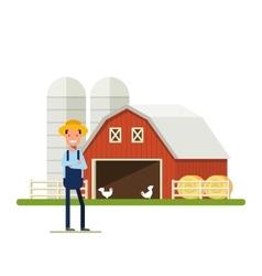 Flat Happy Farmer standing next to a farm Barn vector image