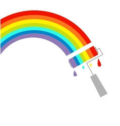 Rainbow cloud and paint roller with drops Dash vector image vector image