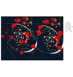 template for bag with rose vector image vector image