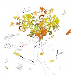 woman with autumn hair vector image vector image