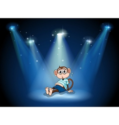 A monkey having a stomach ache with spotlights vector image vector image