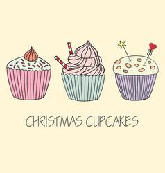 cupcake set of hand drawn cupcakes vector image