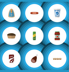 Flat kitchen set of yogurt fizzy drink meat and vector