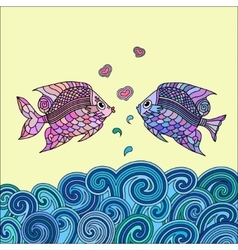 Pair of fish in love vector image