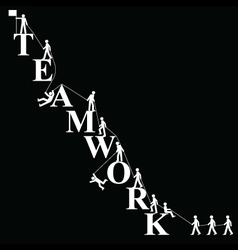 Teamwork themed mountaineering vector image