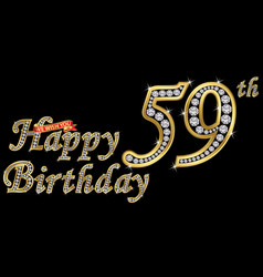 59 years happy birthday golden sign with diamonds vector image
