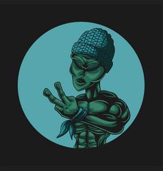 alien peace vector image
