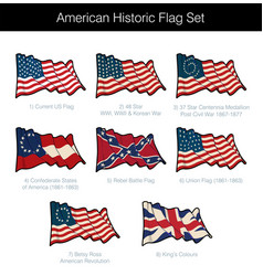 American historic waving flag set vector