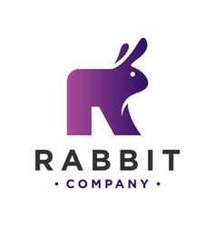 animal logo design rabbit letter r vector image