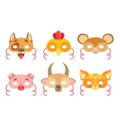 animals carnival masks set dog rooster monkey vector image