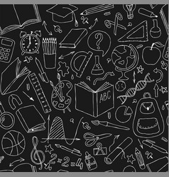 back to school black and white doodle hand draw vector image