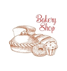 Bakery shop bread sketch poster vector
