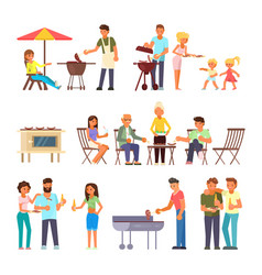 Barbecue people flat style design icon set vector