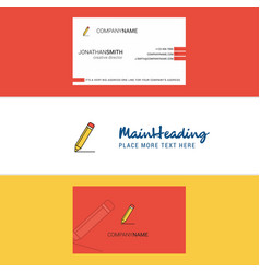 beautiful pencil logo and business card vertical vector image
