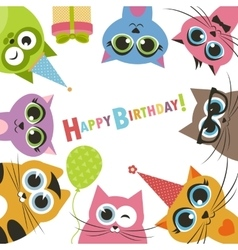 Birthday card with funny cats vector