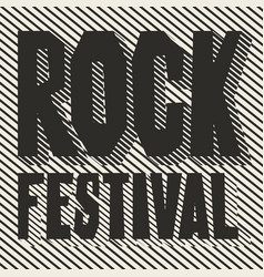 black and white banner with words rock festival vector image