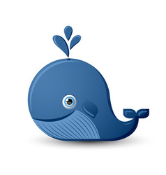 blue whale character on white background vector image