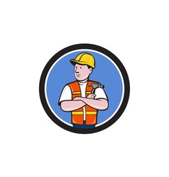 Builder Carpenter Folded Arms Hammer Circle vector