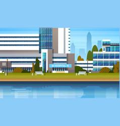 Building modern hospital clinic exterior vector