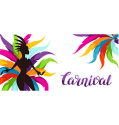 Carnival party banner with samba dancer and vector