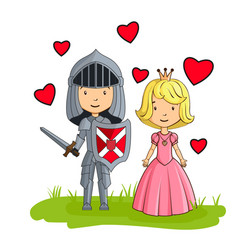 cartoon characters knight and princess in love vector image