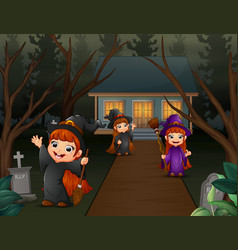 Cartoon three long haired witch children vector
