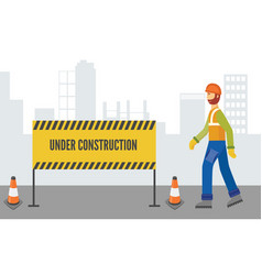 caucasian man and worker in overalls and a helmet vector image