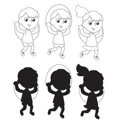 Children jumping the rope coloring silhouettes vector