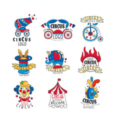 Circus logo design set bright colorful emblems vector