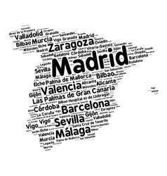 Cities of Spain word cloud vector