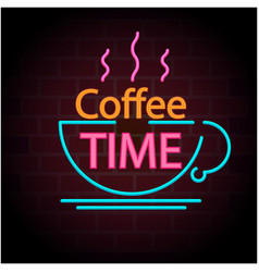 Coffee time coffee cup black background ima vector