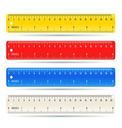 Color school measuring rulers in centimeters and vector