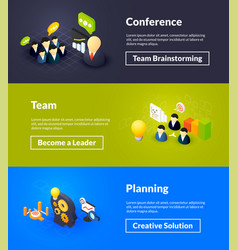 conference team and planning banners of isometric vector image