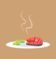 Cooked steak and vegetables vector