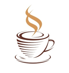 cup hot steaming coffee vector image