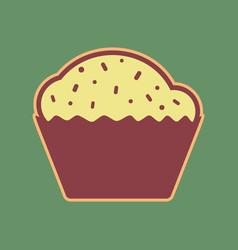 Cupcake sign cordovan icon and mellow vector