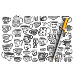 cups hand drawn doodle set vector image