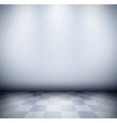 Dark misty room with checkered floor vector